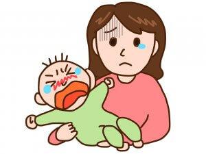 赤ちゃんが泣いているようす