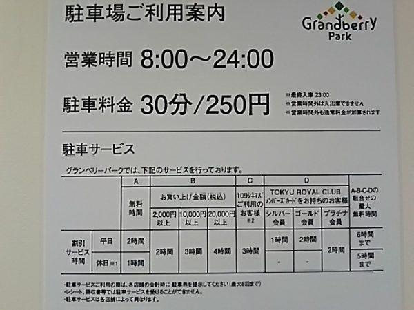 「南町田グランベリーパーク」の駐車料金
