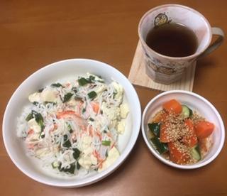 お豆腐とカニカマの塩炒め丼の作り方